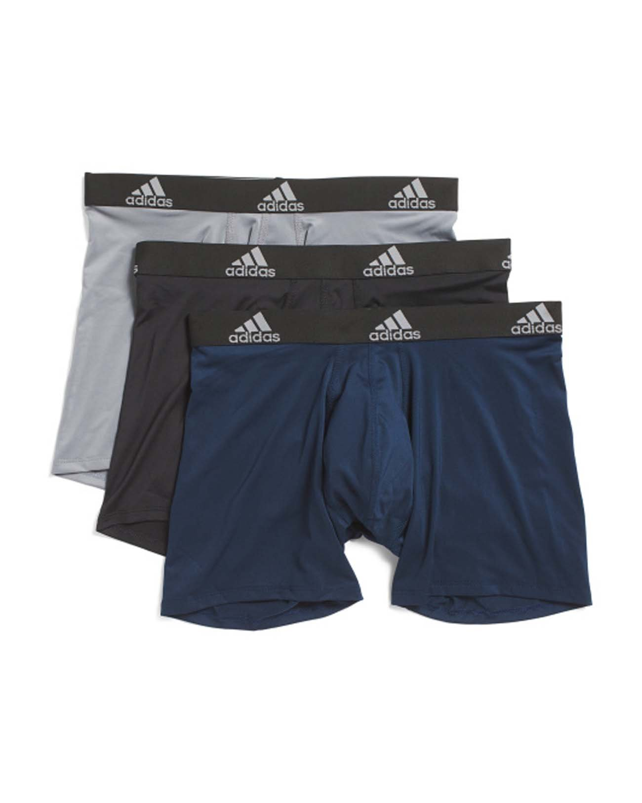 adidas Mens 3 Pack Climalite Performance Boxer Briefs (Large, Black/Grey/Collegiate Navy)
