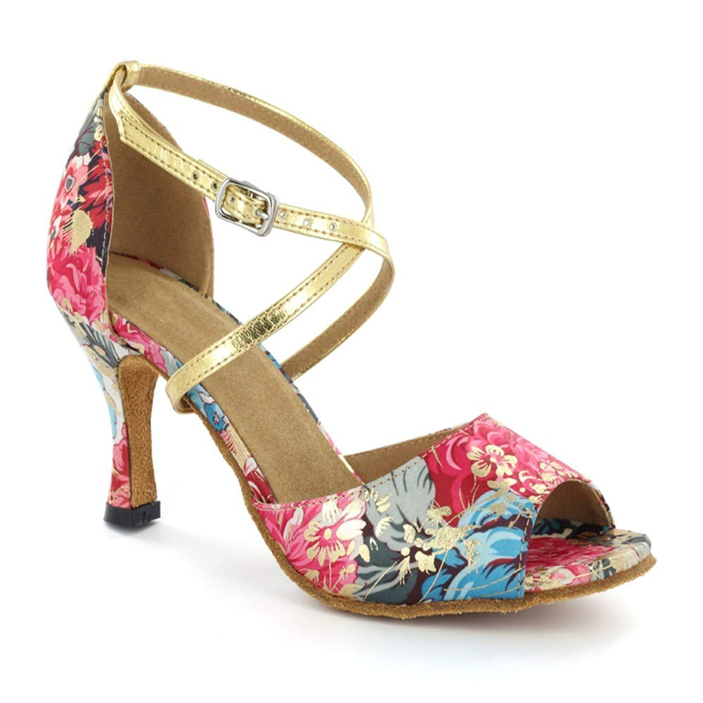 HCCY Farbige Blaumen Latin Dance Schuhe Weiche Tanzschuhe für Indoor-Damen