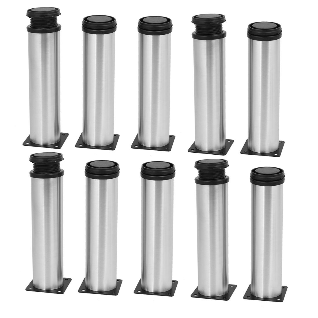 uxcell 50mm x 200mm Metal Adjustable Table Cabinet Feet Leg Round Stand 10PCS