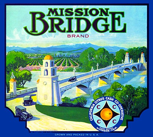 Riverside California Mission Bridge Brand Orange Citrus Fruit Crate Box Label Art Print ()