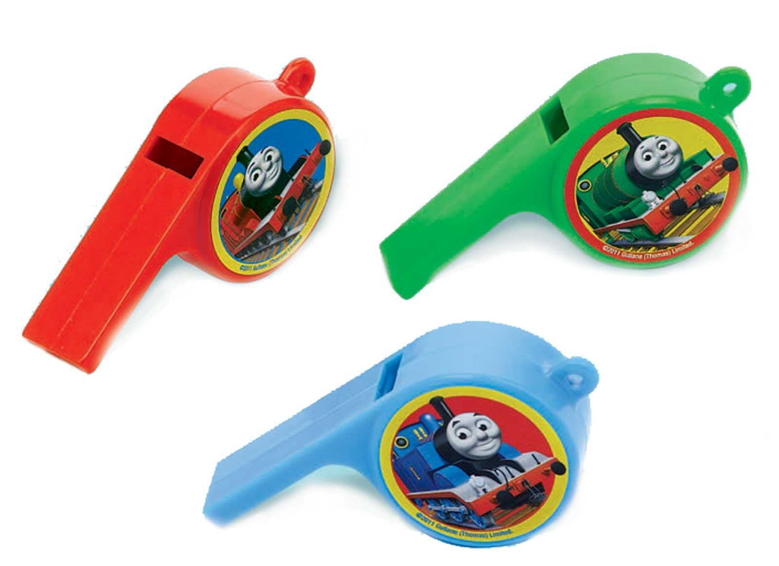 Amscan Fun Thomas The Tank Whistle Birthday Party Favours Toy and Prize Giveaway, 3'' x 1'' x 3/4'', Pack of 12.