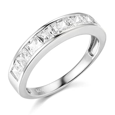 14k White Gold SOLID Channel Set Wedding Band