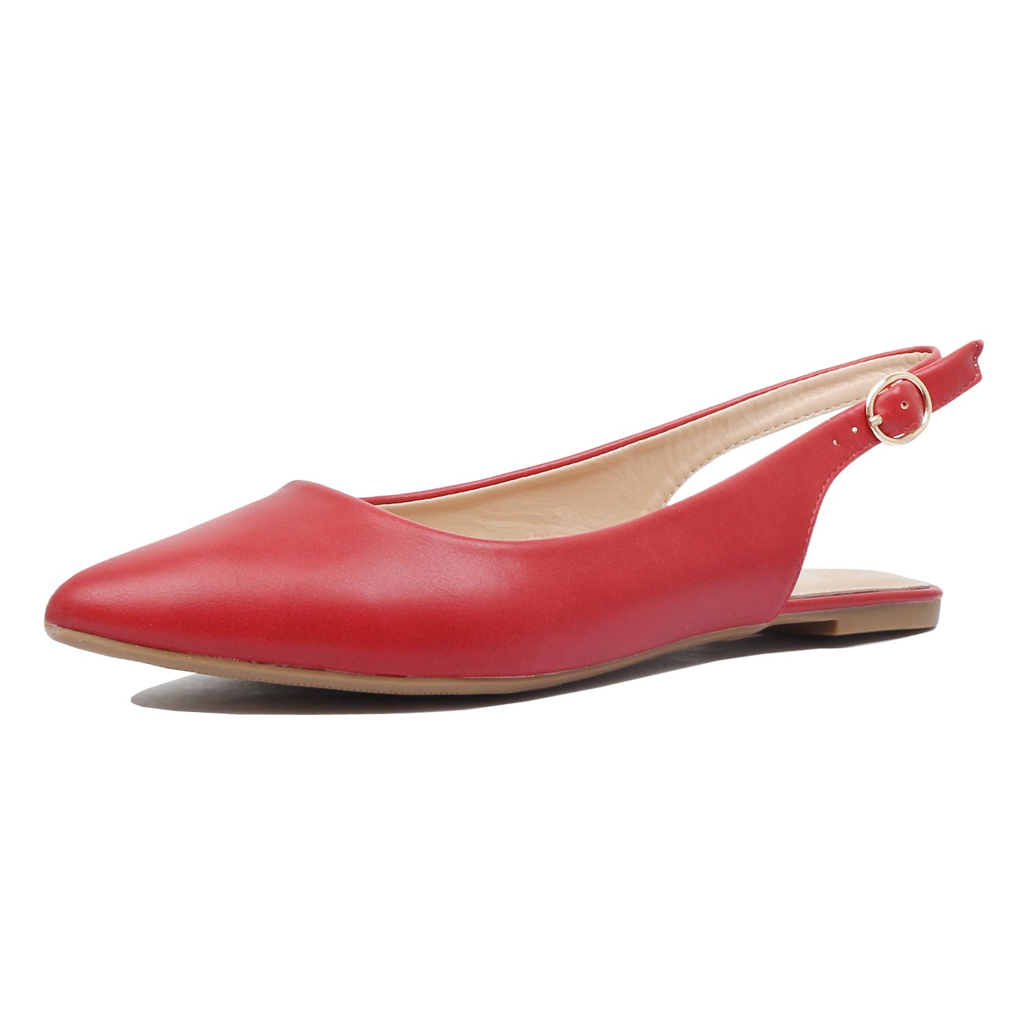 Guilty Heart - Womens Pointy Toe Slingback Buckle Comfortable Casual Dressy Flats (8.5 B(M) US, Red Pu) by Guilty Heart (Image #2)