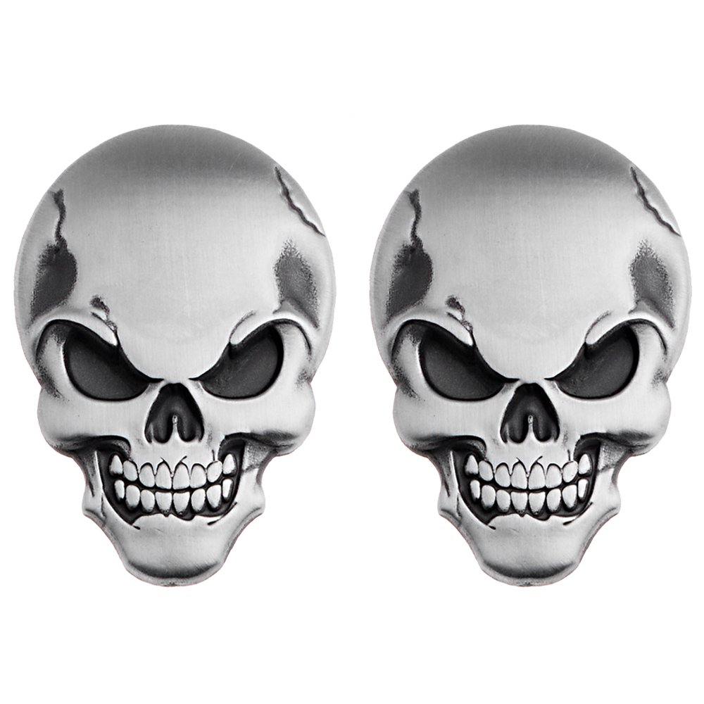 Amazon com astra depot chrome silver 3d skull demon bone emblem decal sticker fairing fender 3m adhesive motorcycle car suv pickup truck 2 pcs