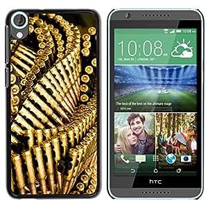 PC/Aluminum Funda Carcasa protectora para HTC Desire 820 Bullets Gun Golden Bling Wallpaper / JUSTGO PHONE PROTECTOR