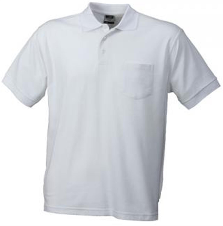 Hochwertiges feinstrukturiertes Herren Piqué-Polohemd mit Brusttasche in den Größen S-3XL Farbe White Größe M