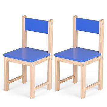 Interougehome Lot De 2 Petites Chaises Bleu En Bois Enfant Chaise