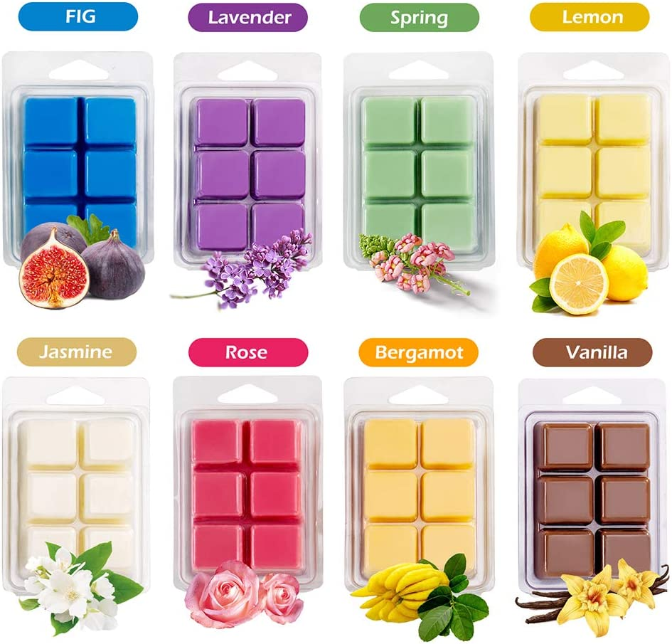 Vanilla Jasmine Tobeape Scented Wax Melts Fig Rose Assorted Wax Warmer Cubes//Tarts Total 20oz with Strongly Fragrance Essential Oils Lavender 8 Pack Soy Wax Cubes Lemon Spring Bergamot