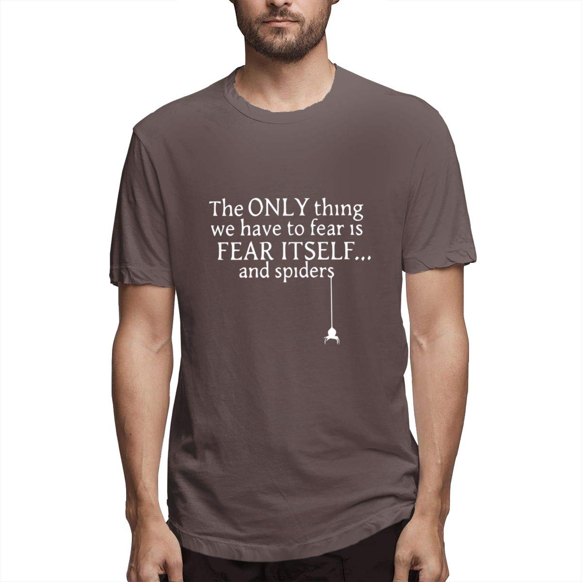 Seuriamin The Only Thing We Have to Fear is Fear Itself and Spiders Mens Ultra Soft Travel Short Sleeve T Shirt