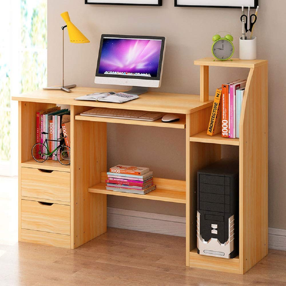Hicy Computer Workstation Desk with Storage,Home Office Writing Desk (Natural)