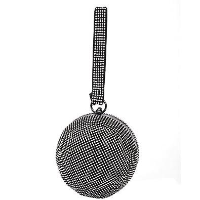 efc4197208 Flada Women Ball Shaped Crystal Handbag Clutch Purse Small Evening Bag Black
