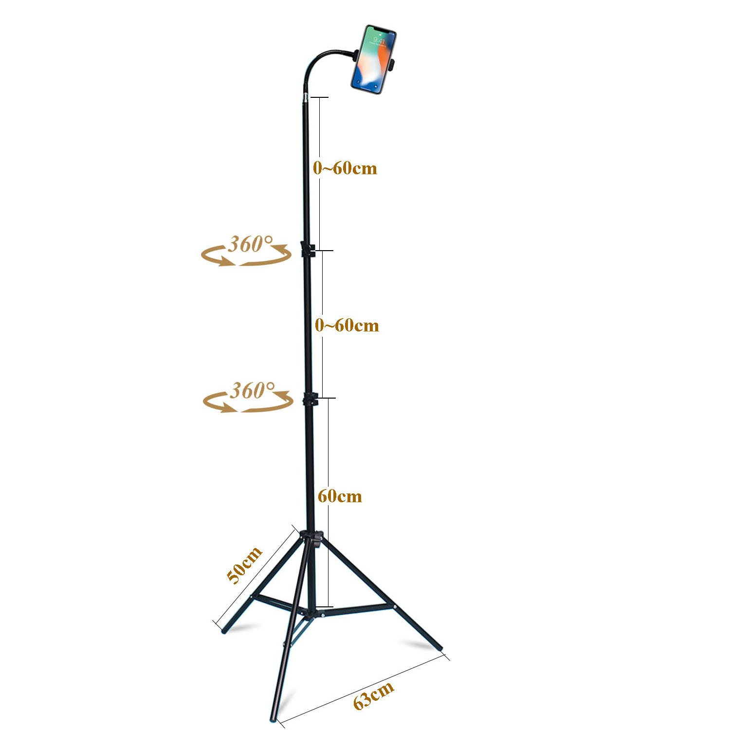 Haitent Retractable Adjustable Cell Phone Tall Tripod Stand Holder for iPhone X,8,7 Plus, 7, 6, 6 Plus,360 Degree Rotatable Flexible Universal Gooseneck Smartphone Stand with Clamp by Haitent (Image #2)