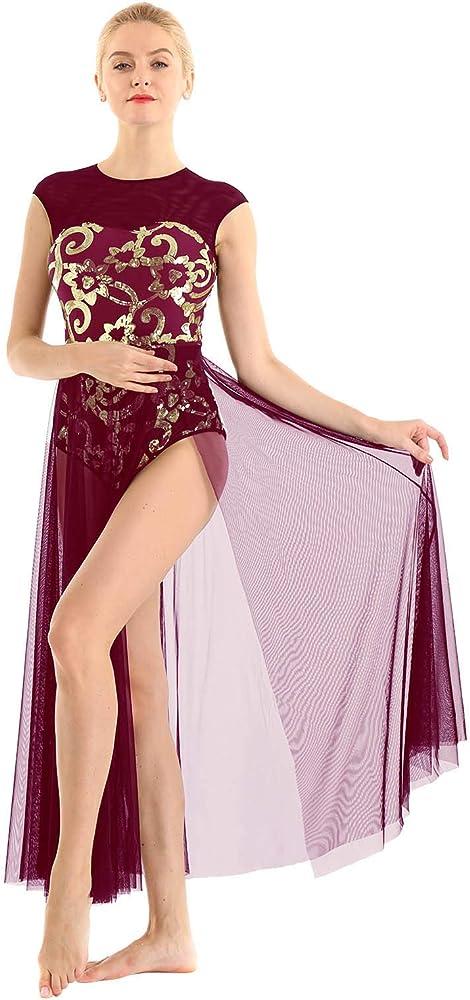 MSemis Vestido de Baile Latino Maillot Largo de Danza para Mujer ...