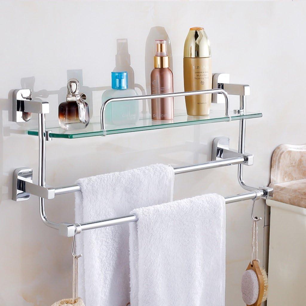 Cuarto de baño de una Sola Capa con Barra para Toallas Barra para Toallas con Doble Barra Doble Barra Colgante para baño Cobre 41-66cm baño Escalera Inodoro baño baño (Size : 56cm):