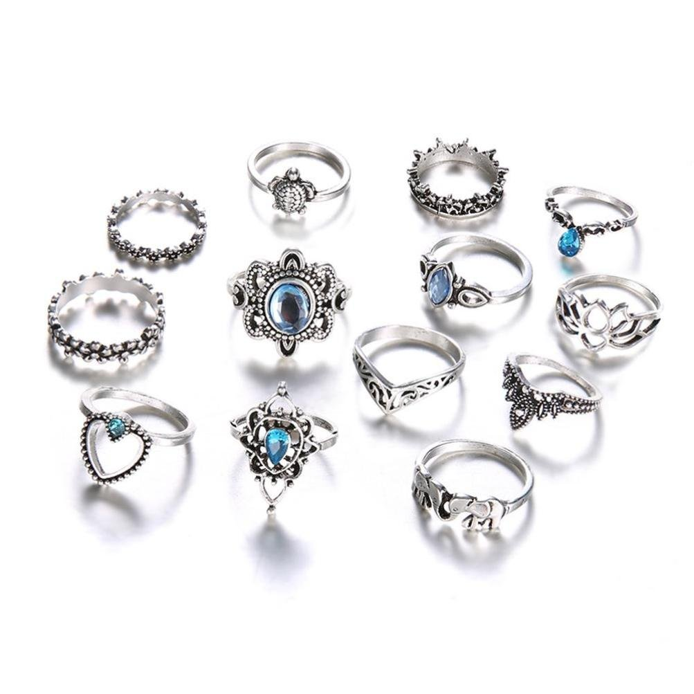 TiTCool Bohemian Vintage Stack Rings Set Above Knuckle Band Rings Set Various Styles (I)