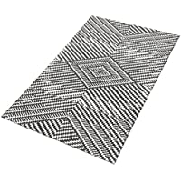 TreeWool Decorative Mat Area Rug Kaleidoscope Accent 100% Cotton (27 x 45 Inches, Grey/Natural)