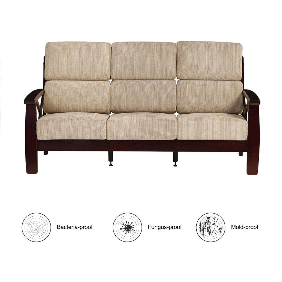 Woodness Austin Classic Three Seater Solid Wood Sofa (Matte, Mahogany)
