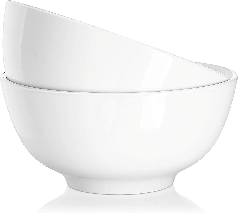 DOWAN 39 Ounce Serving Bowls, Salad Bowls, Porcelain Pasta Bowl Set, Chip Resistant Ceramic, Microwave and Dishwasher Safe, Stackable, 2 Packs, 7 Inches, White