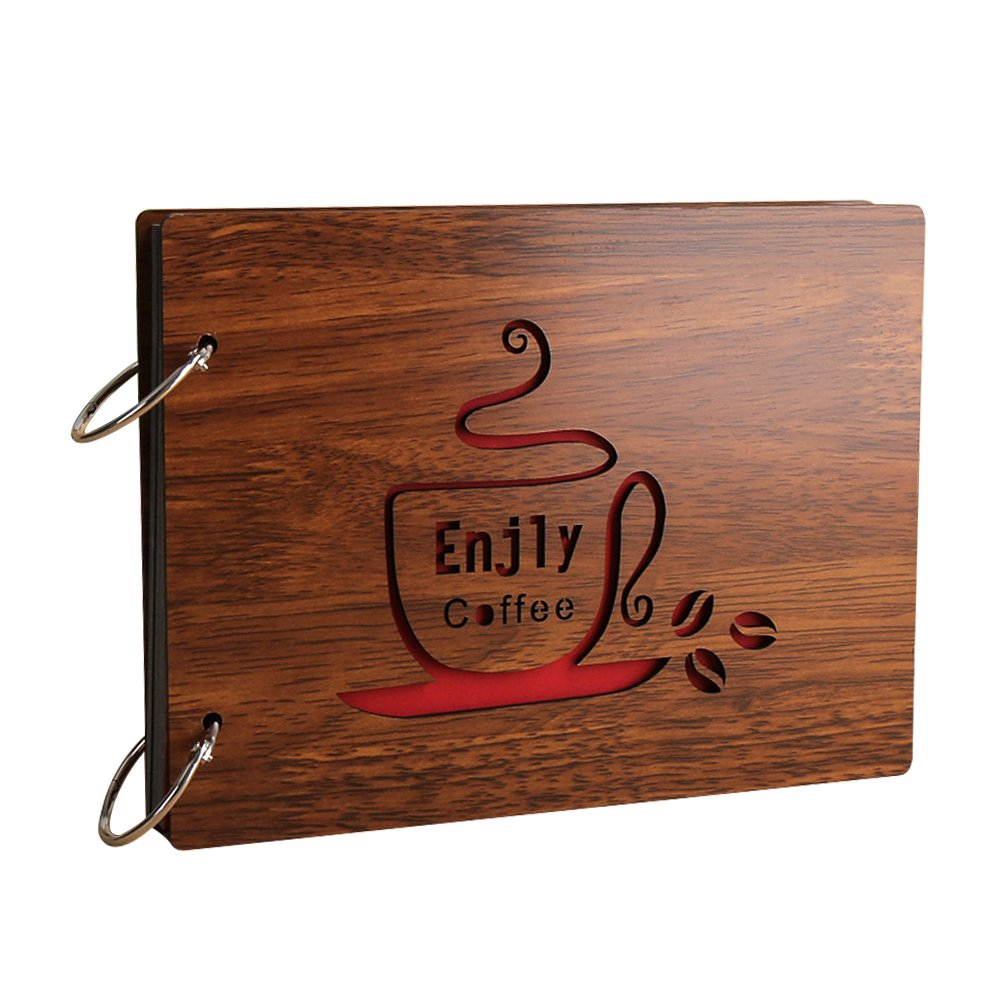 Zhi Jin Vintage Wood DIY Self Adhesive Photo Album Picture Anniversary Scrapbook Albums Storage Memory Book Gift, Coffee Time
