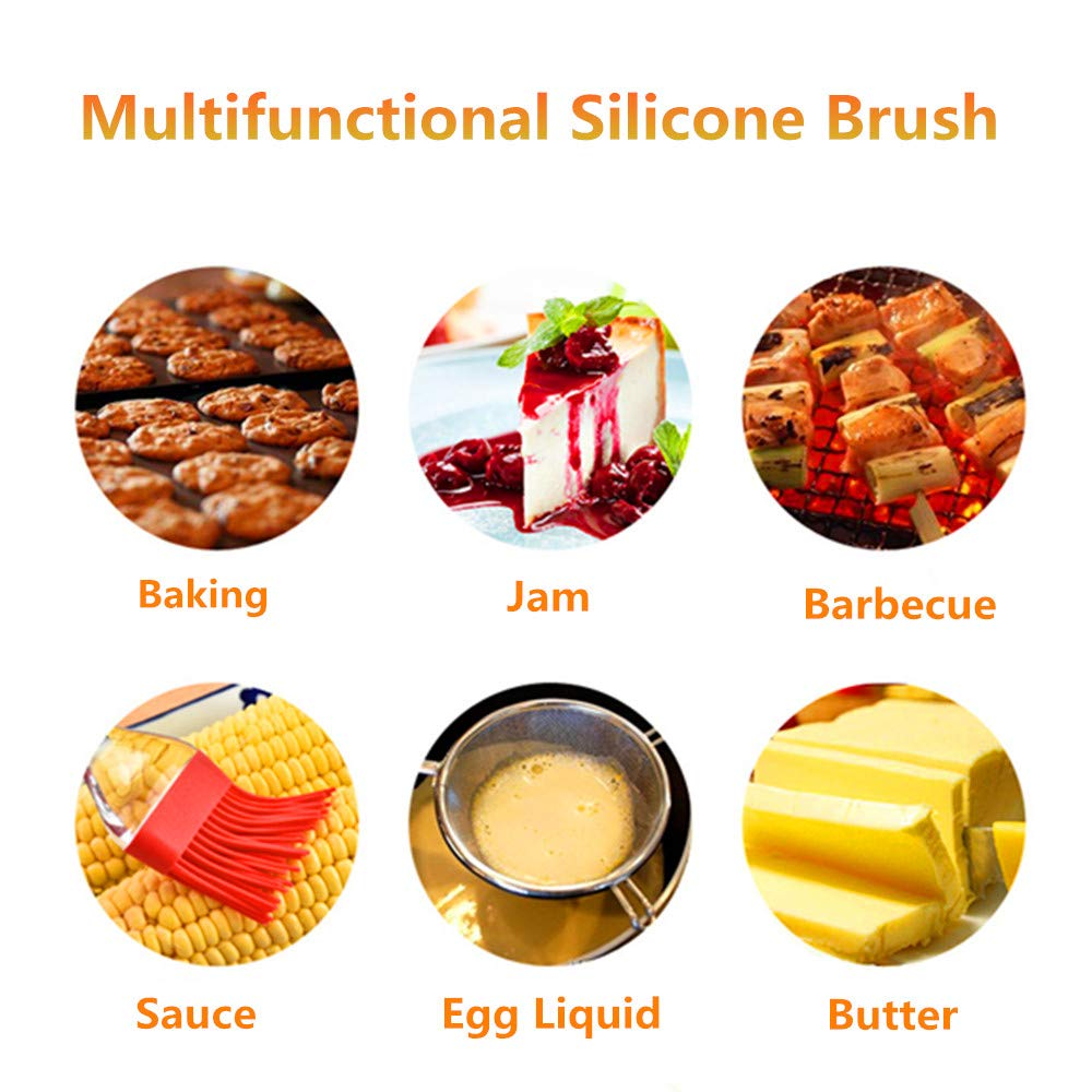 Pankia Go Food Grade Silicone Basting Brush BBQ Oil Bottle Kit Barbecue,  Frying, Salad, Baking Collapsible Funnel Cleaning Brush, Set of 8