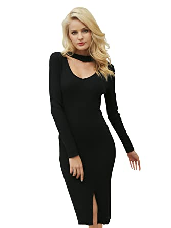 f0a303b29d779 Simplee Women's Choker V Neck Bodycon Midi Dress Autumn Winter Sweater Dress ,Black,4