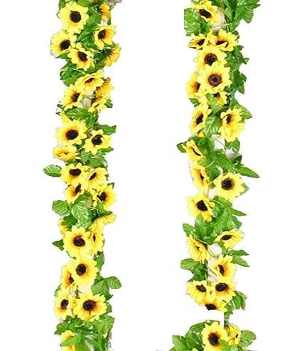 Simulated Yellow Sunflower Garland Vine Leaf Wedding Floral Home Decor Flower