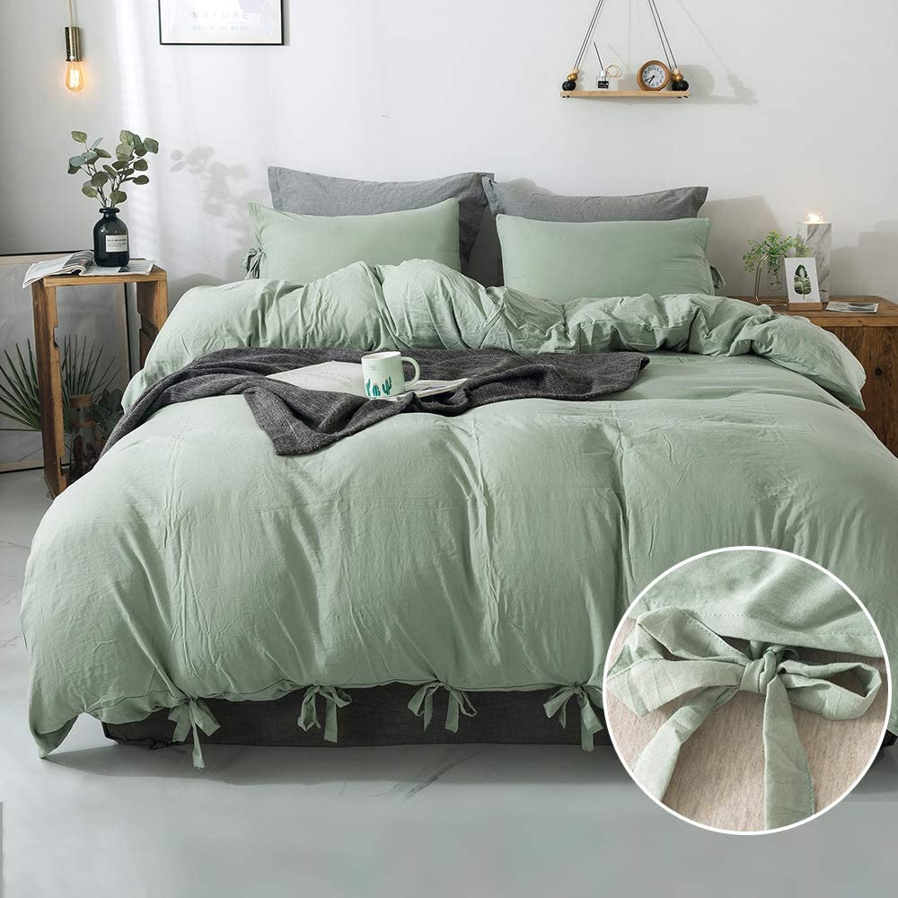 annadaif Butterfly Dark Sea Green Duvet Cover Queen,3 Pieces Soft Washed Cotton Bowknot Duvet Cover Set, Easy Care Bedding Set for Men, Women