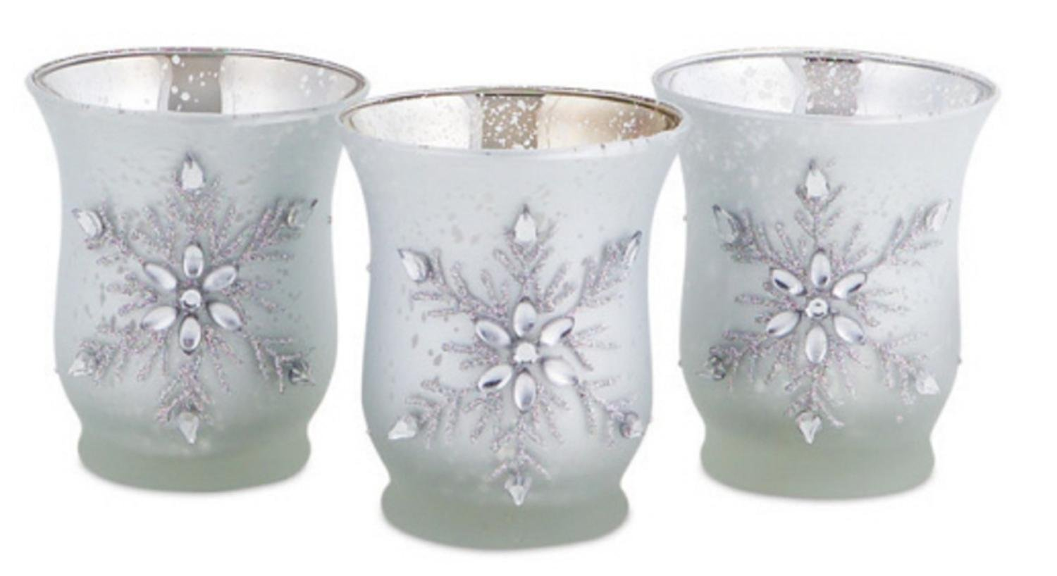 18 Matte Silver Glass Jeweled Snowflake Christmas Votive Candle Holders 3.5''