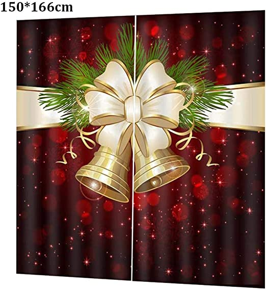 Keruite Christmas 3D Printing Curtain for Living Room Bedroom Christmas Decorations,/155 x 166cm