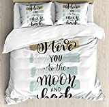 Our Wings I Love You Comforter Set,I Love You to the Moon Back Valentine's Phrase Stripes Bedding Duvet Cover Sets Boys Girls Bedroom,Zipper Closure,4 Piece,Blue Grey Pale Caramel,Twin Size