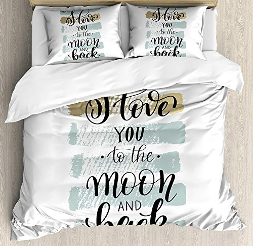 Our Wings I Love You Comforter Set,I Love You to the Moon Back Valentine's Phrase Stripes Bedding Duvet Cover Sets Boys Girls Bedroom,Zipper Closure,4 Piece,Blue Grey Pale Caramel,Twin Size by Our Wings