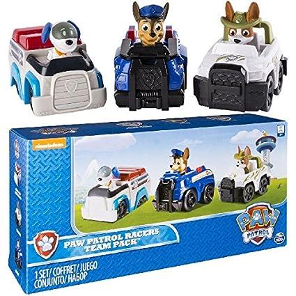 c6db5851c Amazon.com: Paw Patrol Racers 3-Pack Vehicle Set, Chase, Robodog & Tracker:  Toys & Games