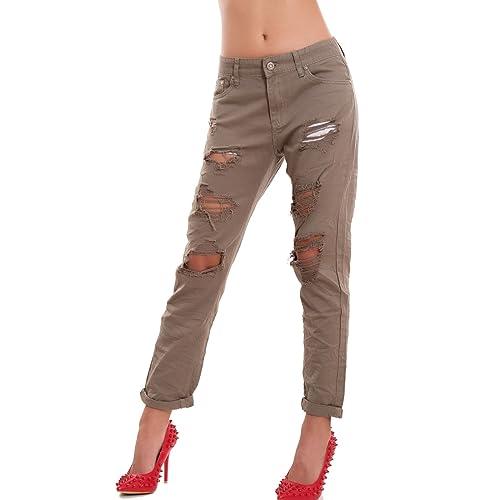 Toocool–Jeans Mujer Pantalones Strappi Boyfriend caballo bajo risvoltino nuevo m5043