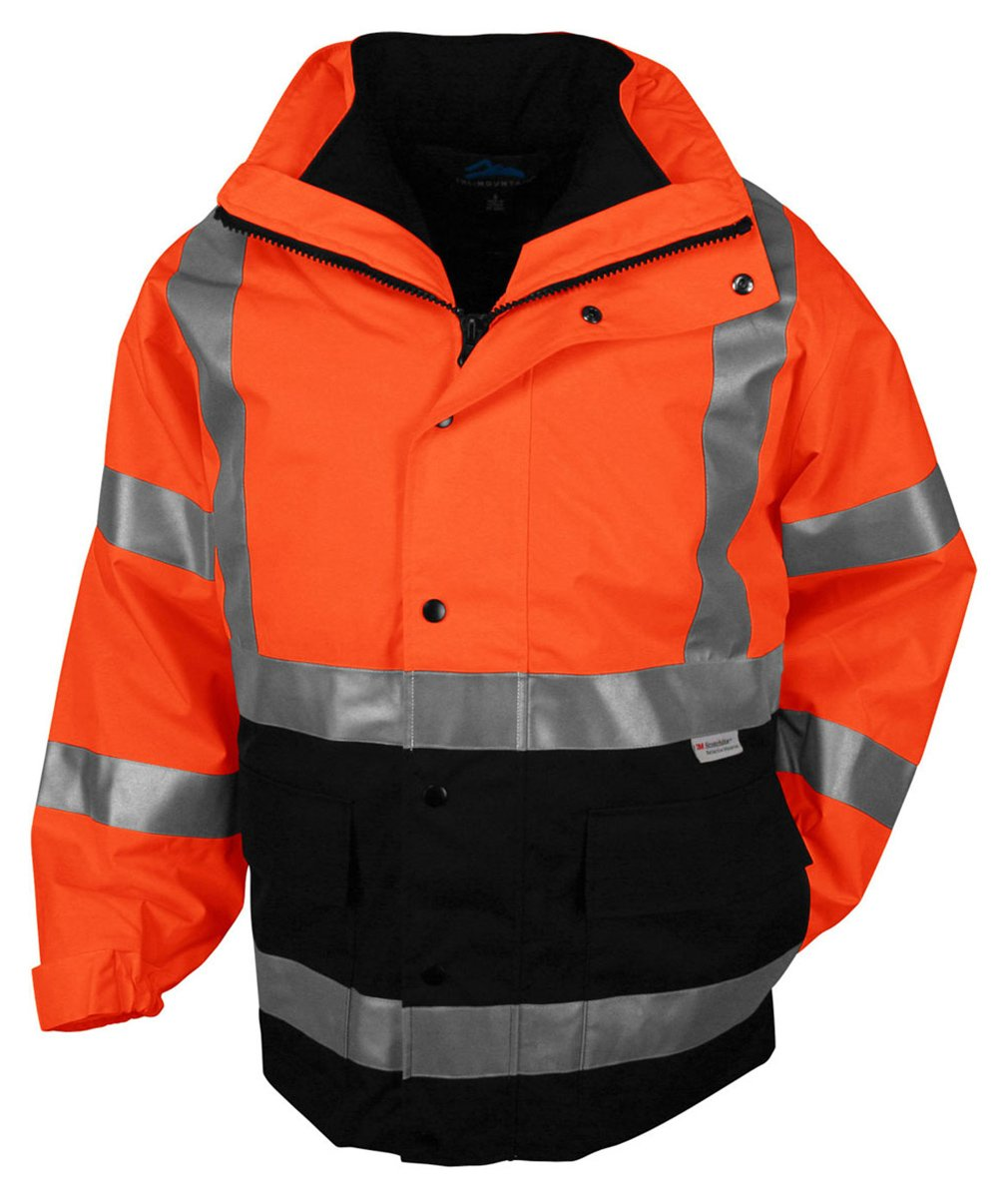 Tri-mountain 3-in-1 system waterproof safety parka. ANSI Class 3. - OSHA ORANGE/BLACK - XXXX-Large