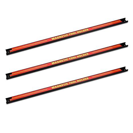 Navaris 3x tiras magnéticas para herramientas - Soporte magnético de cuchillos 60.5x2.3CM - Set bandas imantadas para cocina garaje jardín y taller