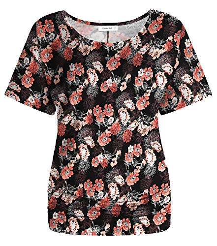 Printed Coral - Esenchel Women's Short Sleeve Dolman Top Scoop Neck Drape Shirt XL Coral Rose