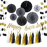 Birthday Decorations Black and Gold Kit with HAPPY BIRTHDAY Banner for Adult 30 40 50 60-13pcs