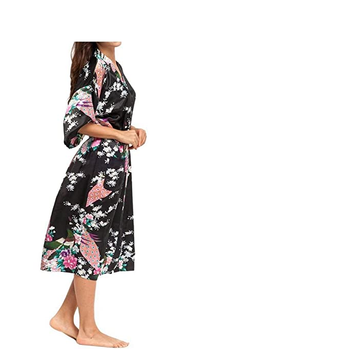 0637550bd031 Women s Robes Peacock and Blossoms Kimono Satin Nightwear Long Style UK  Stock (M