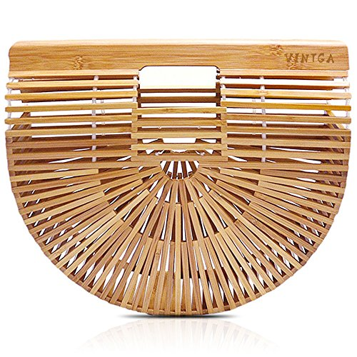 Straw Bag Handbag (Vintga Bamboo Handbag Handmade Tote Bamboo Purse Straw Beach Bag for Women (Bamboo Small))