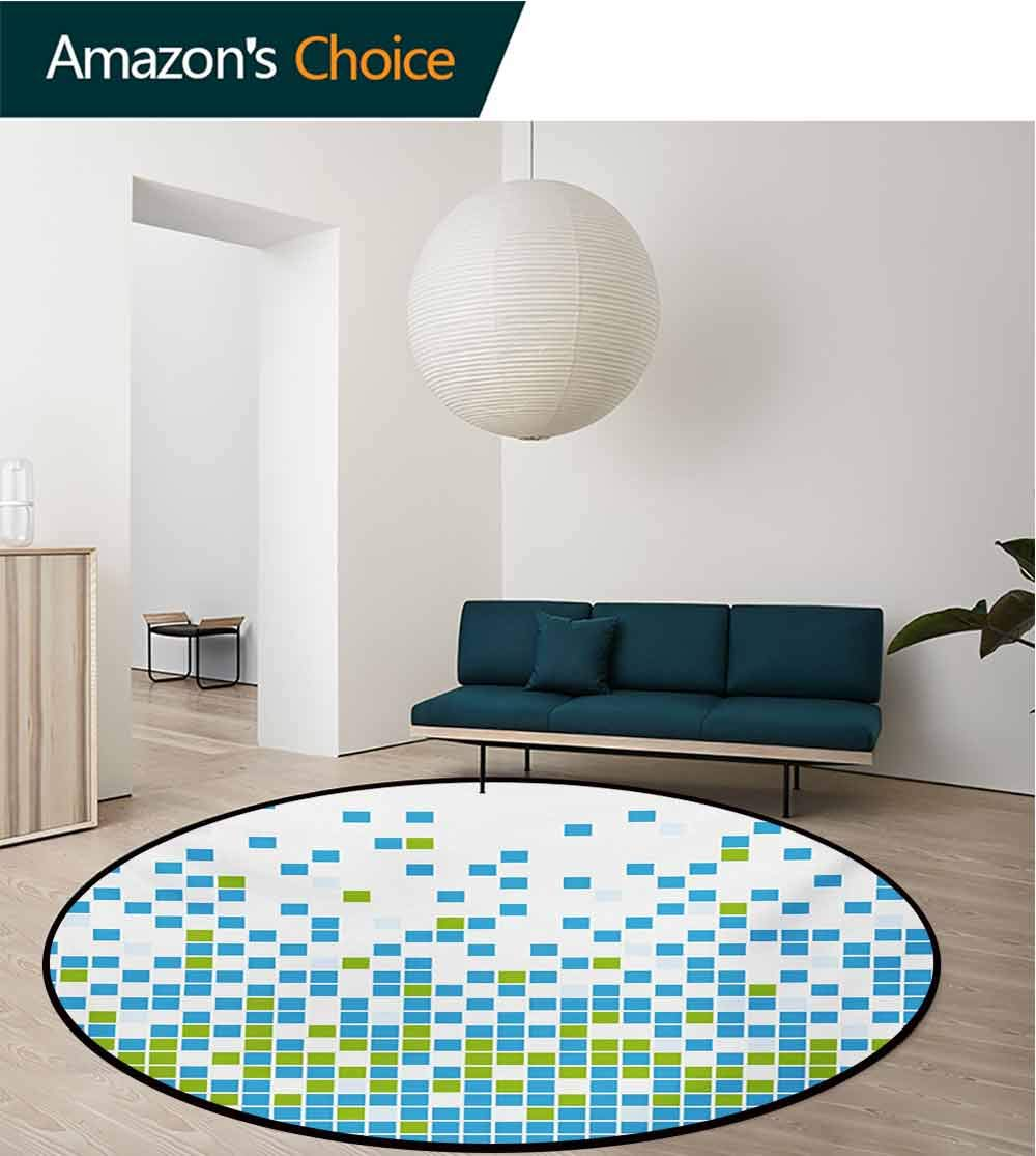 Modern Modern Machine Washable Round Bath Mat,Mosaic Grid Pattern Pixel Art Digital Design Graphic Squares Illustration Non-Slip Living Room Soft Floor Mat,Round-31 Inch Lime Green Aqua White by RUGSMAT (Image #2)