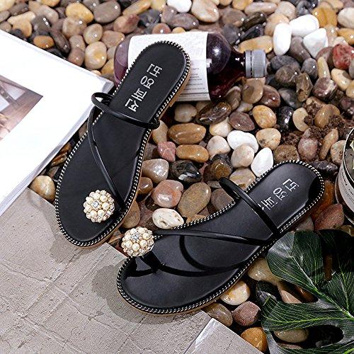 Ularma Los zapatos Peep-toe tacón Rhinestone de las mujeres Flip Flops negro