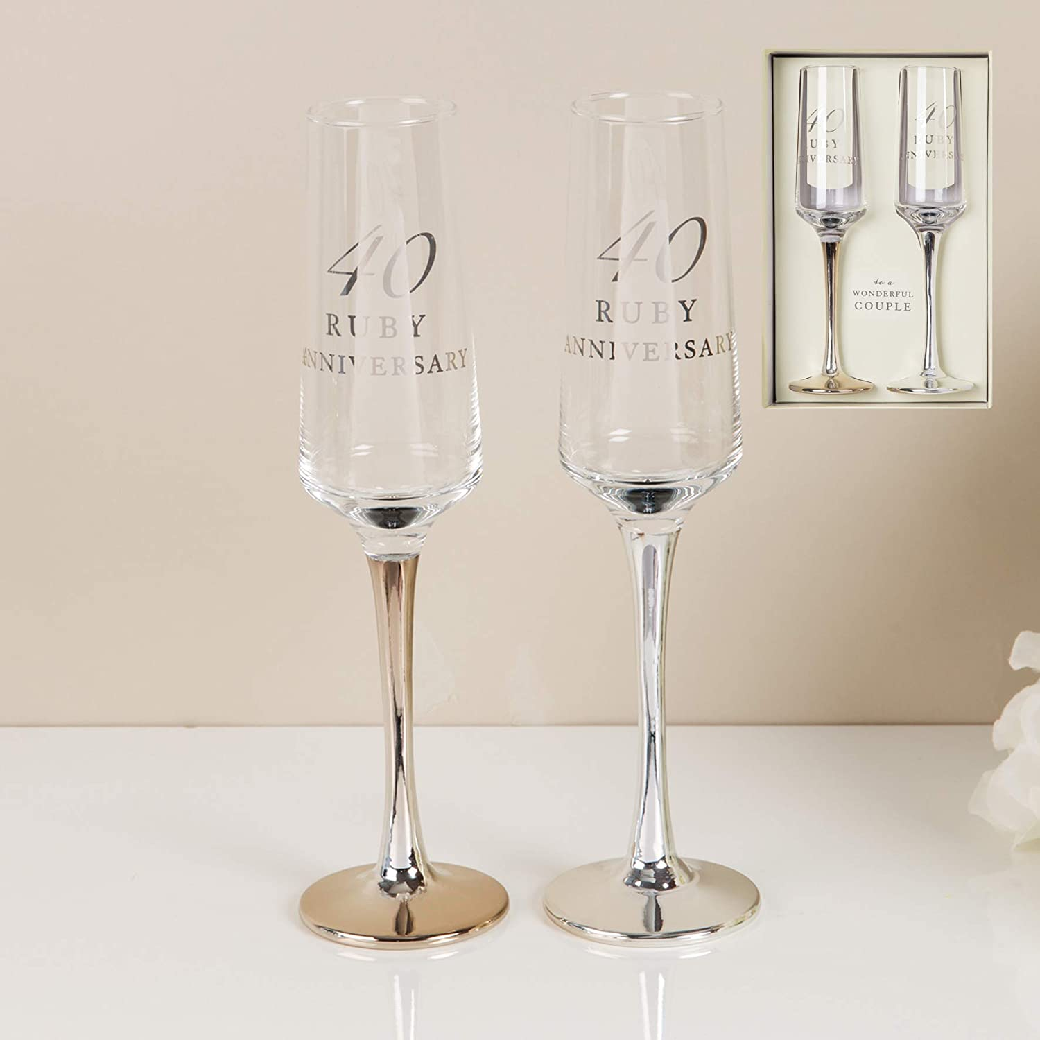CC Personalised Amore Set of 2 Ruby 40th Wedding Anniversary Straight Champagne Flutes with silver stems - Add Your Own Message (Not Personalised)