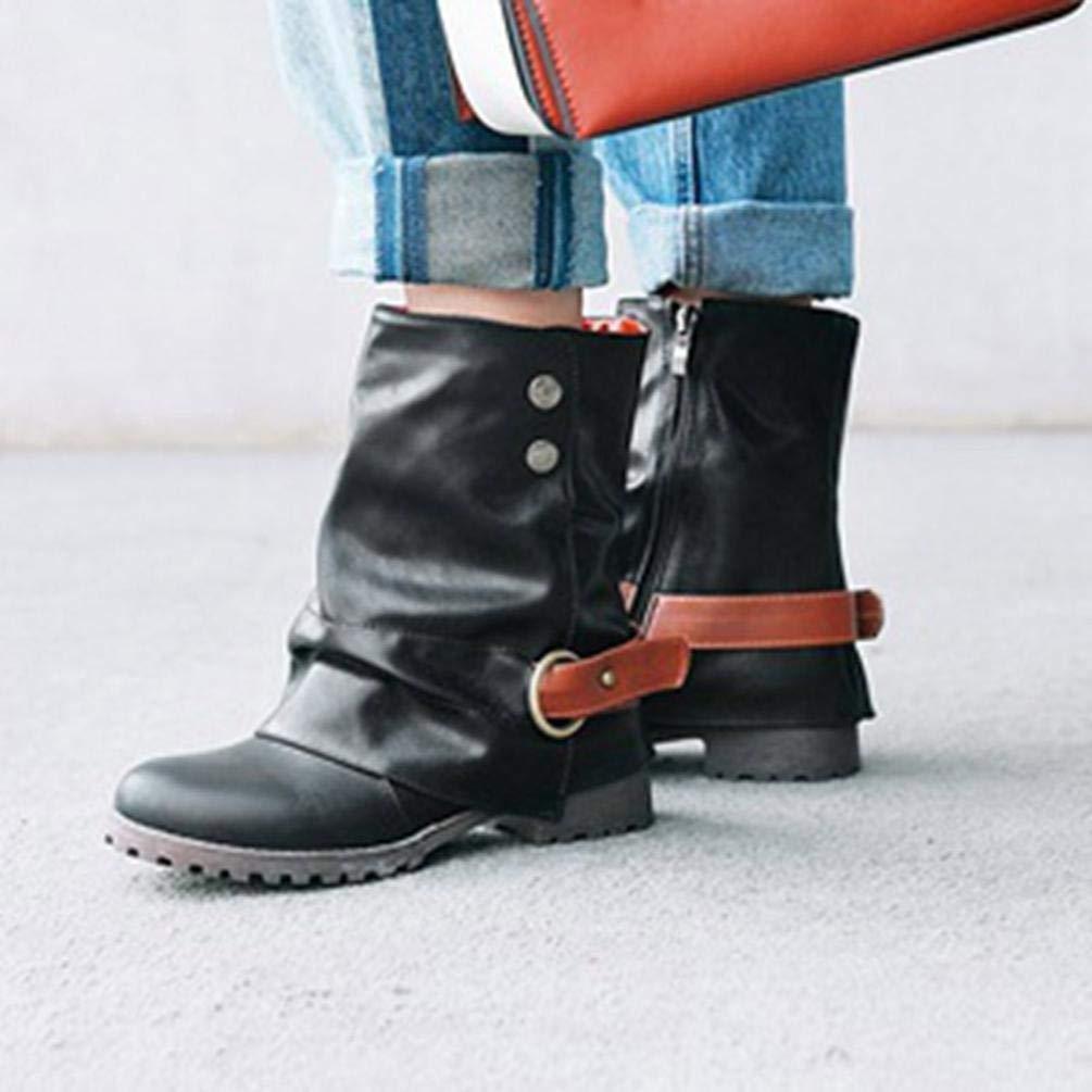 ZHRUI Frauen Kurze Leder Stiefel, Damenmode warme Kurze Leder Stiefel Stiefel Stiefel Frauen Schnalle Kunstleder Patchwork Schuhe Bequeme beiläufige Schuhe (Farbe   Grau, Größe   5.5 UK) 995587