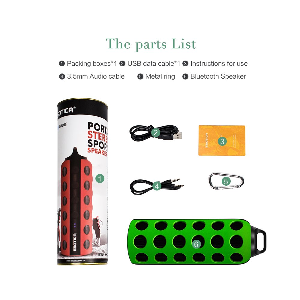 Outdoor Bluetooth Speaker,Horsky Ultra Portable Stereo Sport Wireless Speaker Life Waterproof Bass Superior Sound Built-in Mic Long Playtime Output 3Wx2 with Carabiner Green/Black