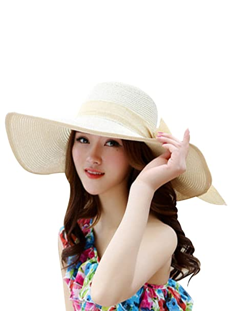 36e09444970 Zando Womens Big Brim Floppy Straw Sun Hats Foldable Roll up Beach Hat Caps  for Women