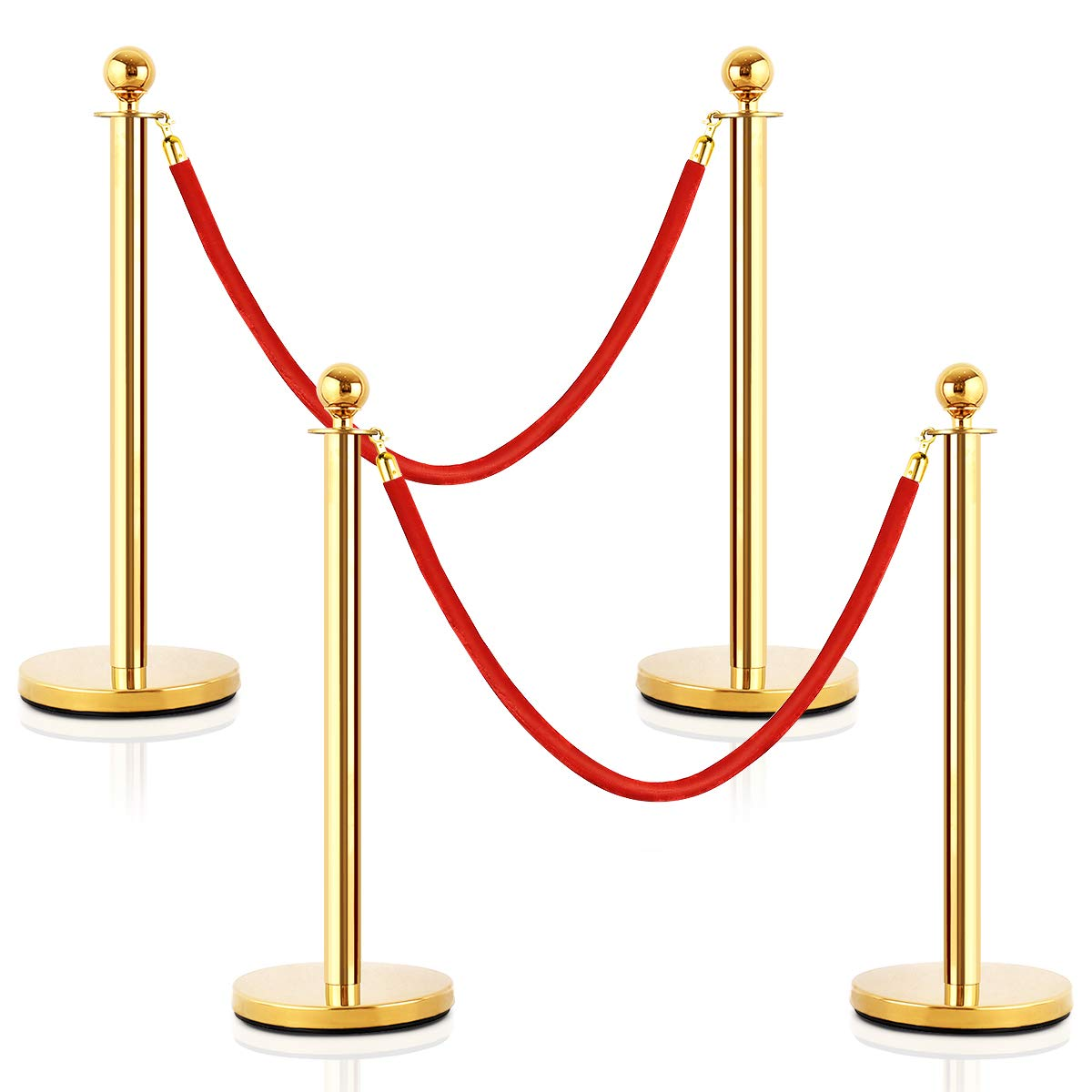 Goplus 4Pcs Stainless Steel Stanchion Posts Queue Pole Retractable 2 Ropes Crowd Control Barrier with 5Ft Red Velvet Rope, Gold by Goplus