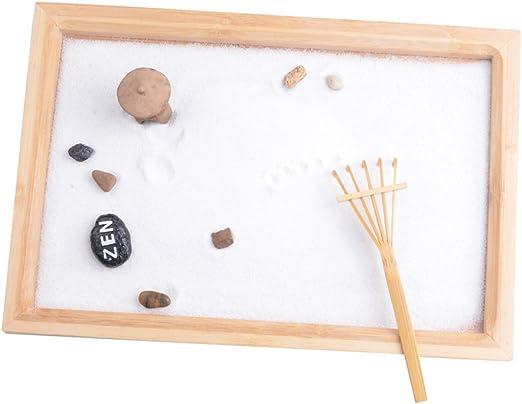 sharplace Kit de mini jardín Zen arena bandeja espiritual relajante Pebble rastrillo Set hogar oficina reducción de estrés favor: Amazon.es: Hogar