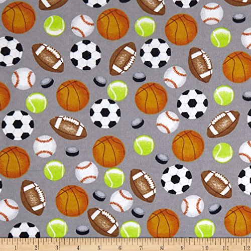 - Mook Fabrics Sports Allover Flannel Fabric, Grey, Fabric By The Yard