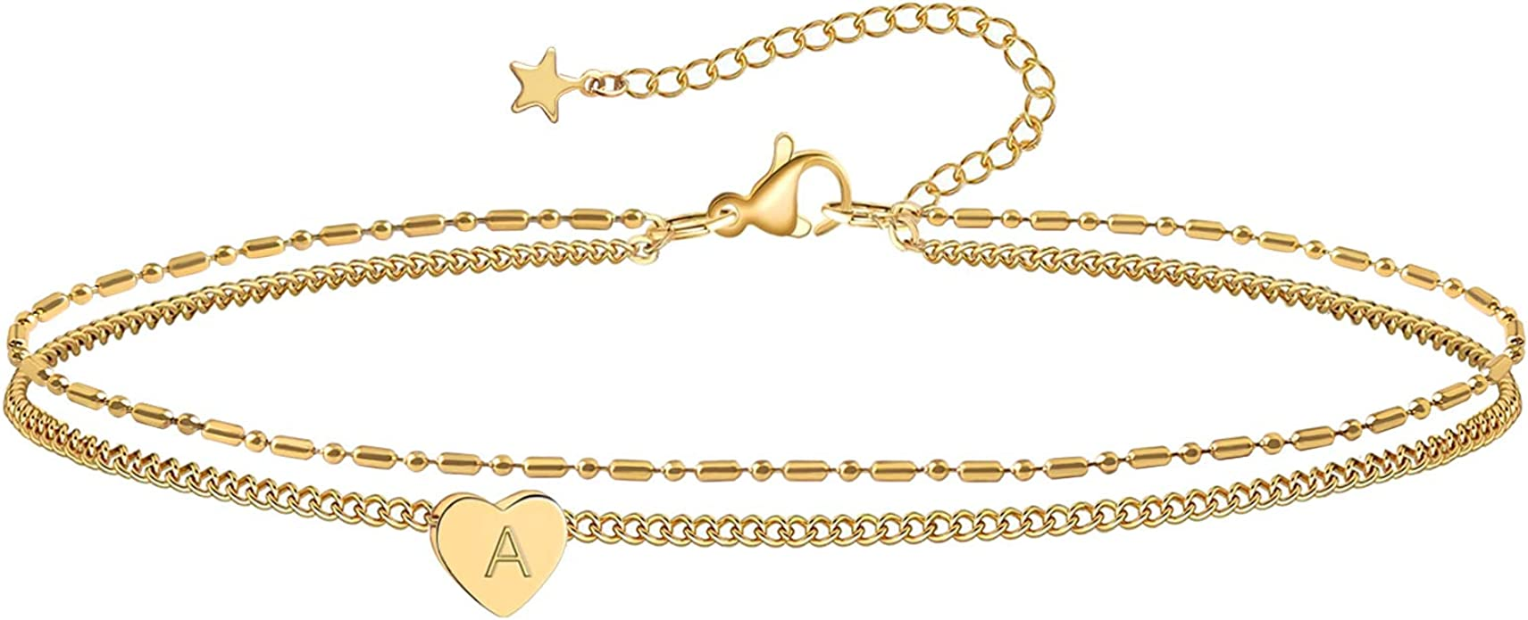 Initial Anklet Gold Letter Anklet Figaro Chain 14K Gold Ankle Bracelets for Women Cute Anklets for Teen Girls Summer Anklet Beach Foot Jewelry