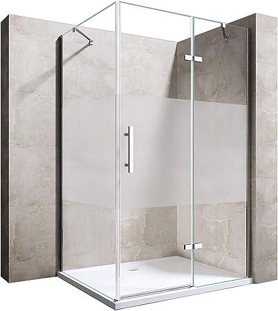 durovin baños Ravenna 28 con bisagras cristal esmerilado ducha almacenaje transparente forma de L Nano tecnología
